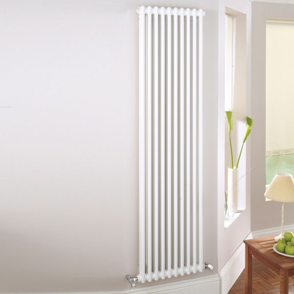 Vertical Heated 2 Column Radiator 1800mm High In White