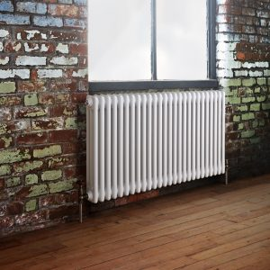Horizontal Heated 3 Column Radiator 600mm High In White