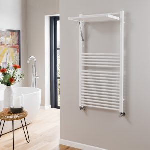 Utah White Folding Towel Rail 500×1200 & 600x1200mm