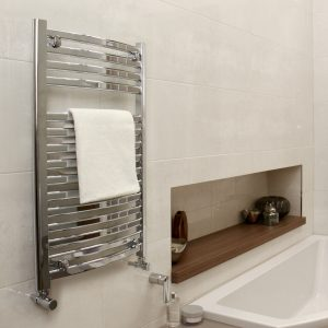 MD Designer Oval Curved Towel Rail 600 Wide Chrome Multiple Sizes