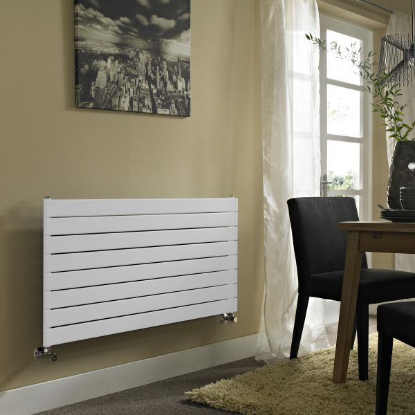 ESP Single Panel Horizontal Slim Radiators 550 High in White Gloss