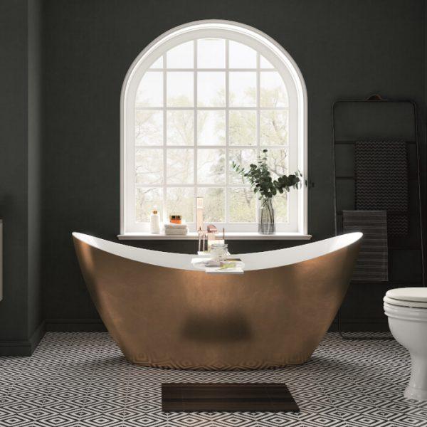Heritage Hylton Bath 1730x730mm In Copper, Steel Or Gold Effect
