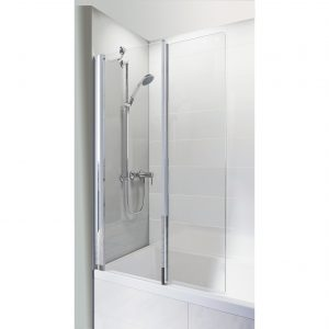 IN6 V2 Inward Folding Square Bath Screen In Chrome