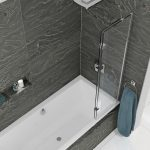 Kudos 2 Panel In Swing Bath Screen In Chrome Closed Right Hand