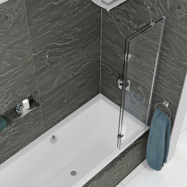 Kudos 2 Panel In Swing Bath Screen In Chrome