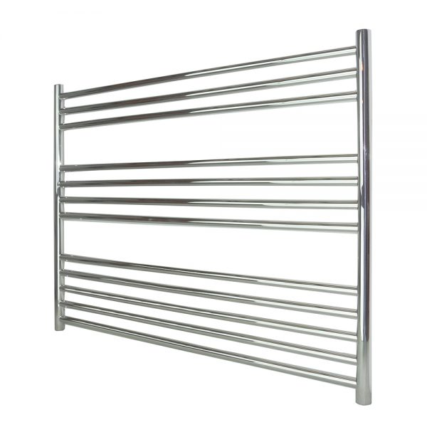 Rogerseller Fold Single 750 Heated Towel Rails: Mia Stainless Steel Towel Rail Chrome Curved
