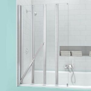Merlyn Secure Seal 4 Folding Bath Screen In Chrome