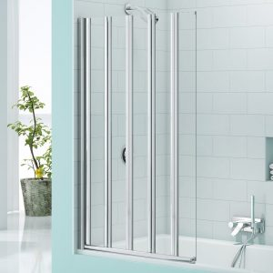 Merlyn Secure Seal 5 Folding Bath Screen In Chrome