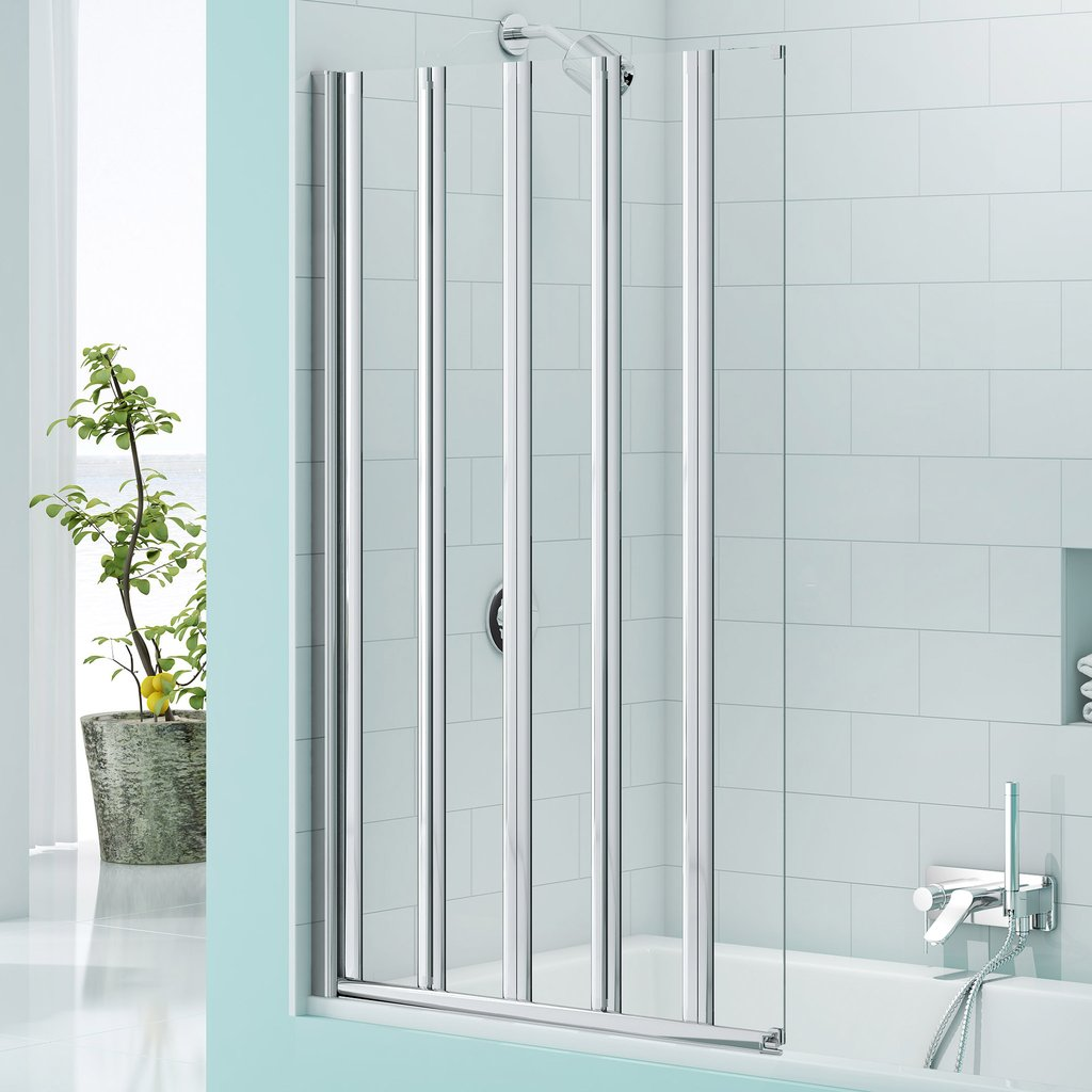 Merlyn Secure Seal 5 Folding Bath Screen In Chrome | Simply Bathrooms