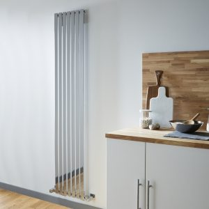 DR Vertical Flat Tubular Design Heated Radiator In Chrome