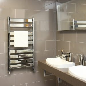 MD Designer Flat Straight Towel Rail 500 Wide Chrome Multiple Heights
