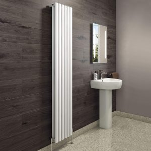 Double X Vertical Heated Radiator In White