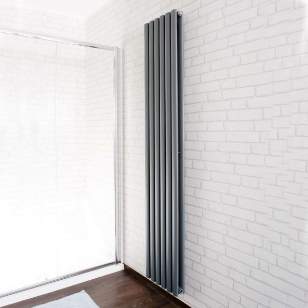 Double X Vertical Heated Radiator In Anthracite
