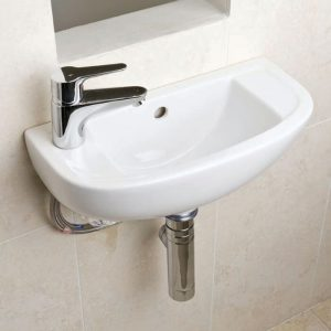 Compact Cloakroom Basin 1 Tap hole 450mm Left Or Right Handed