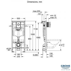 Grohe Rapid SL WC Frame Inc Cosmo Chrome Flush Plate