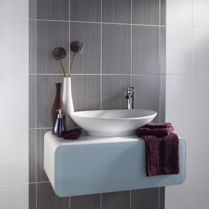Bright Wall Bathroom Tiles 248X398 Tiles Box of 10 In Grey