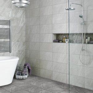 Diana Wave Grey Ceramic Wall Tiles 248X498 Tiles