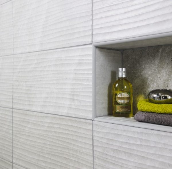 Diana Wave Grey Ceramic Wall Bathroom Tiles 248X498 (Box of 8)