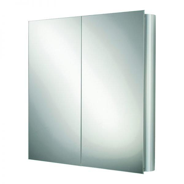 HIB Quantum Double Mirrored Cabinet Aluminium 600 x 700mm