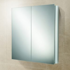 HIB Quantum Double Mirrored Cabinet Aluminium 600 x 700mm