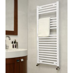 Deluxe Towel Rail 25mm Straight 400 Wide In White Multiple Heights