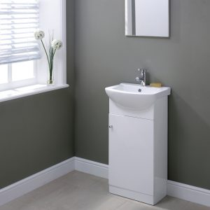 Akomi 450mm Floor Standing Door Unit With Curved Basin In Three Colours grey gloss vanity unit