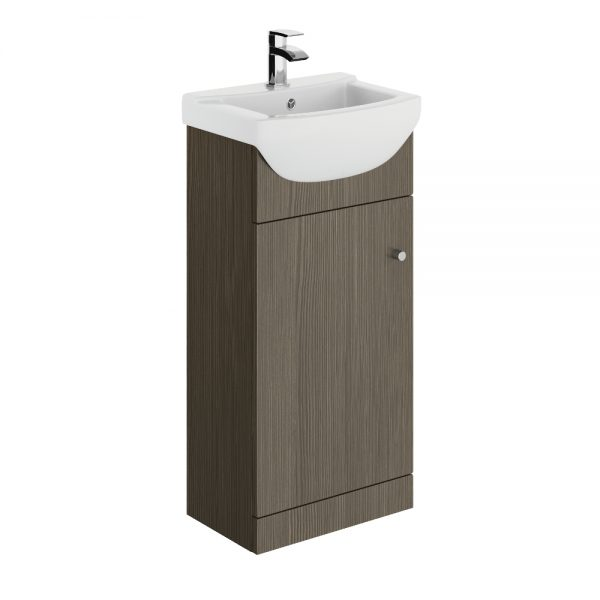 Akomi 450mm Floor Standing Door Unit With Curved Basin In Three Colours