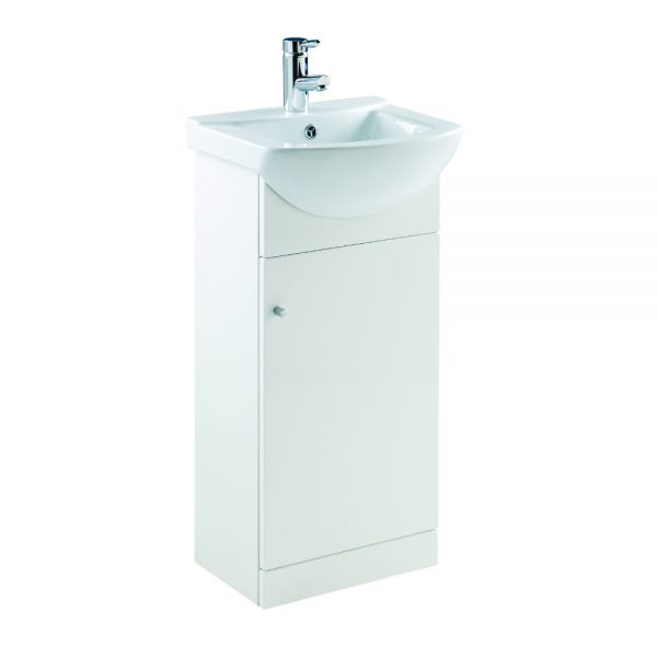 Akomi 450mm Floor Standing Door Unit With Curved Basin In Three Colours white1