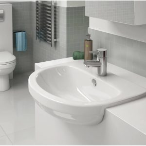Delia 520mm Semi Recessed Basin 1 Tap hole