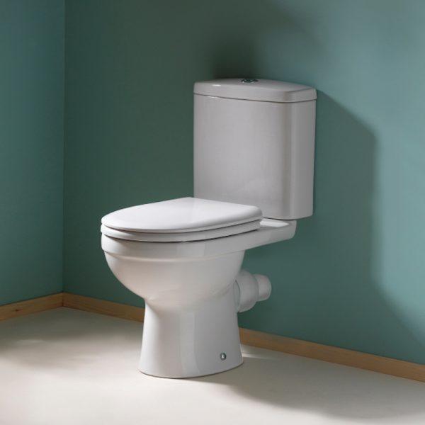 Delia Close Coupled Toilet & Soft Close Seat | Short Projection
