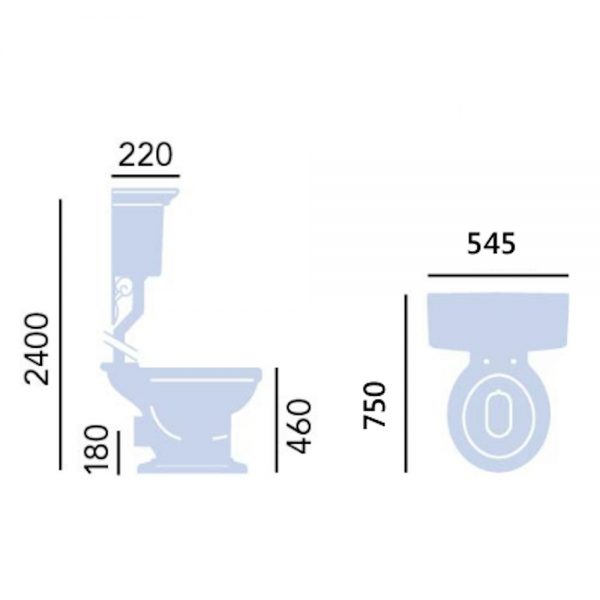 Heritage Blenheim High Level Toilet Comfort Height with Pull Chain