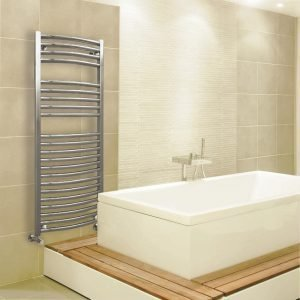 Towel Ladder Rail Deluxe Curved 25mm 500 Wide In Chrome - Available in Multiple Heights