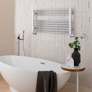 Towel Ladder Rail Deluxe Straight 25mm 1000 Wide In Chrome - Available in Multiple Heights Horizontal Heated Towel Rail