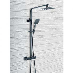 Black Square Deluxe HP Dual Outlet Thermostatic Shower In Black