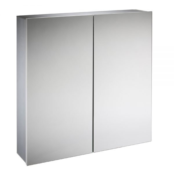 Double Mirrored Aluminium Cabinet 600 x 650mm In Aluminium