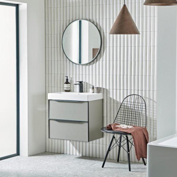 Led Perimeter Frame Round Bathroom Mirrors 600 In White Grey