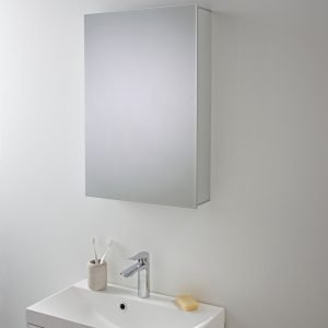 Single Mirrored Aluminium Cabinet 440 x 650mm In Aluminium