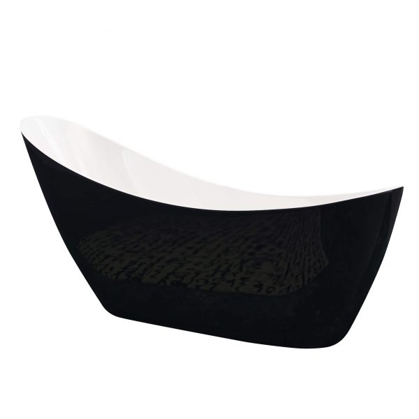 Slipper Single Ended Freestanding Bath 1750x750mm In Black & White