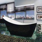 Slipper Single Ended Freestanding Bath 1750x750mm In Black & White Lifestyle