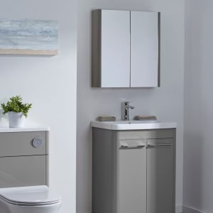 Sol 600mm Double Mirrored Wall Cabinet In Four Colours