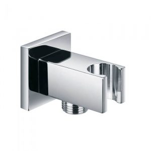 Square Wall Outlet Elbow With Bracket In Chrome
