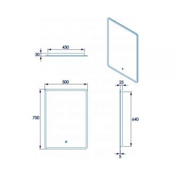Chilwell Perimeter Illuminated LED Mirror In 500x700mm