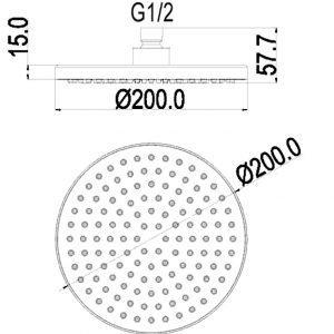 Designer ABS Round Shower Head 200mm In Chrome