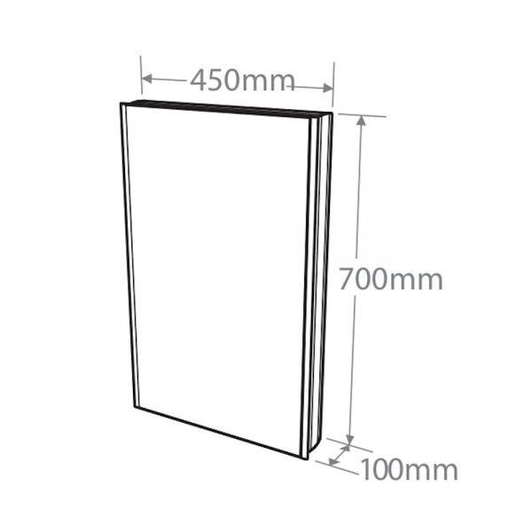 Single Slimline Mirrored Aluminium Cabinet 450 x 700mm In White Or Aluminium