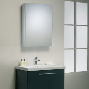 Single Slimline Mirrored Aluminium Cabinet 450 x 700mm In White Or Aluminium