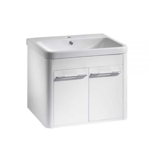 Sol 600mm Wall Mounted Door Unit & Rectangular Ceramic Basin Top In Two Colours