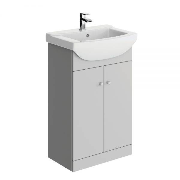 Akomi 550mm Floor Standing Door Unit With Curved Basin In Three Colours