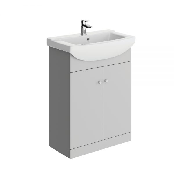 Akomi 650mm Floor Standing Door Unit With Curved Basin In Three Colours