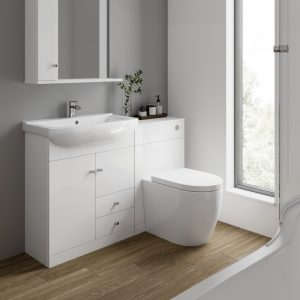 Akomi 850mm Floor Standing Door & Draw Unit With Curved Basin In Three Colours