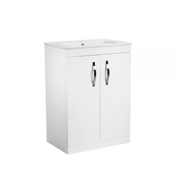Alp 600mm Floor Standing Door Unit With Rectangular basin In White